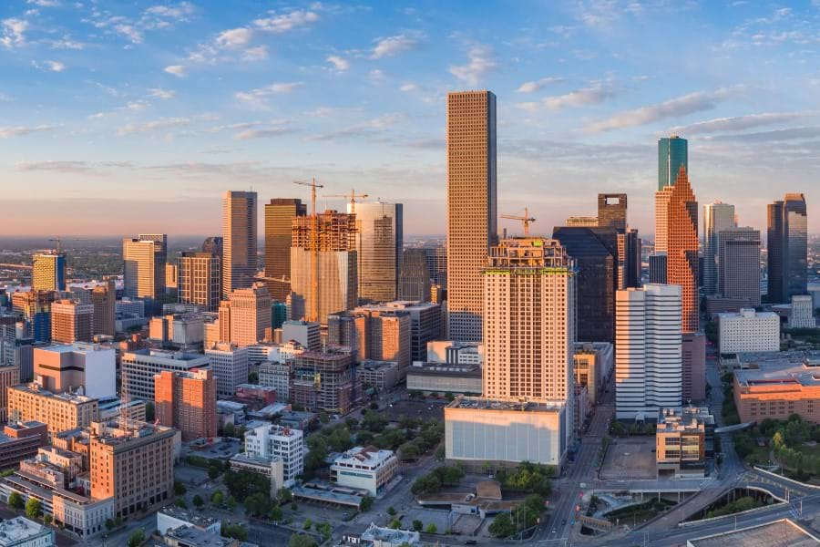 Aerial panorama of downtown Houston skyline in the early morning light, as seen from the northeast side of town.
