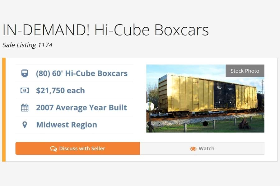 A sale listing for Hi-Cube Boxcars. Listing Shows a yellow boxcar and the listing terms.