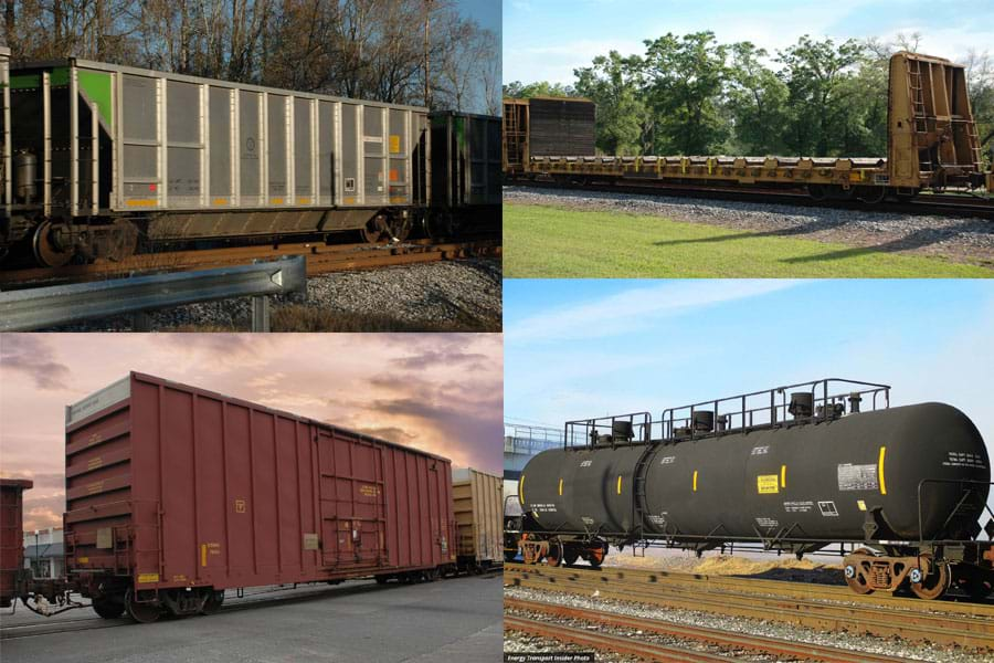 A collage of 4 photos containing a rapid coal hopper, a yellow bulkhead flatcar, a burgundy hi-cube boxcar, and a black specialty tank car on railroad tracks