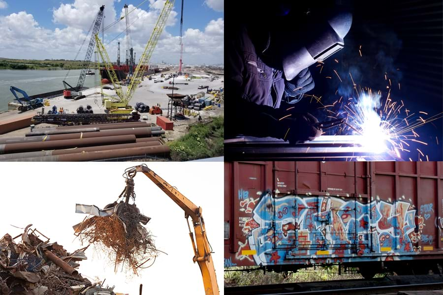 A 4-section photo depicting transloading equipment at a port, a welder in a maintenance shop, a scrap metal recycling center, and a red freight car covered with dirt and graffiti