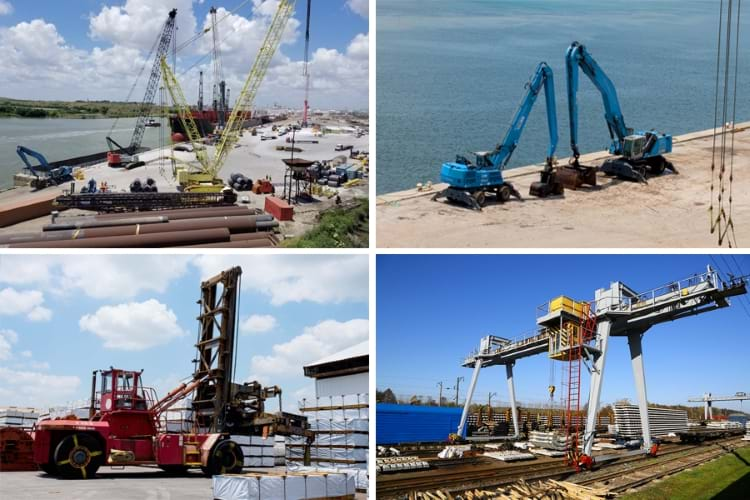 A colorful, 4-quandrant photo showing transloading cranes at a port, 2 blue Fuchs material handlers at a transload port, a Taylor Toploader at a transloading facitlity, and a gantry crane loading sleepers on a railway station platform