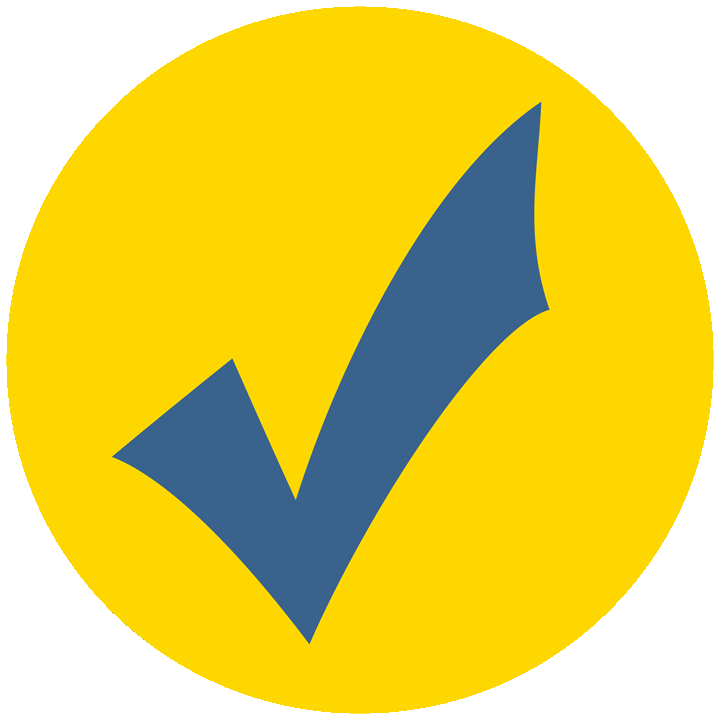 The Commtrex Verified Icon shown with a bright yellow circle with a blue checkmark inside