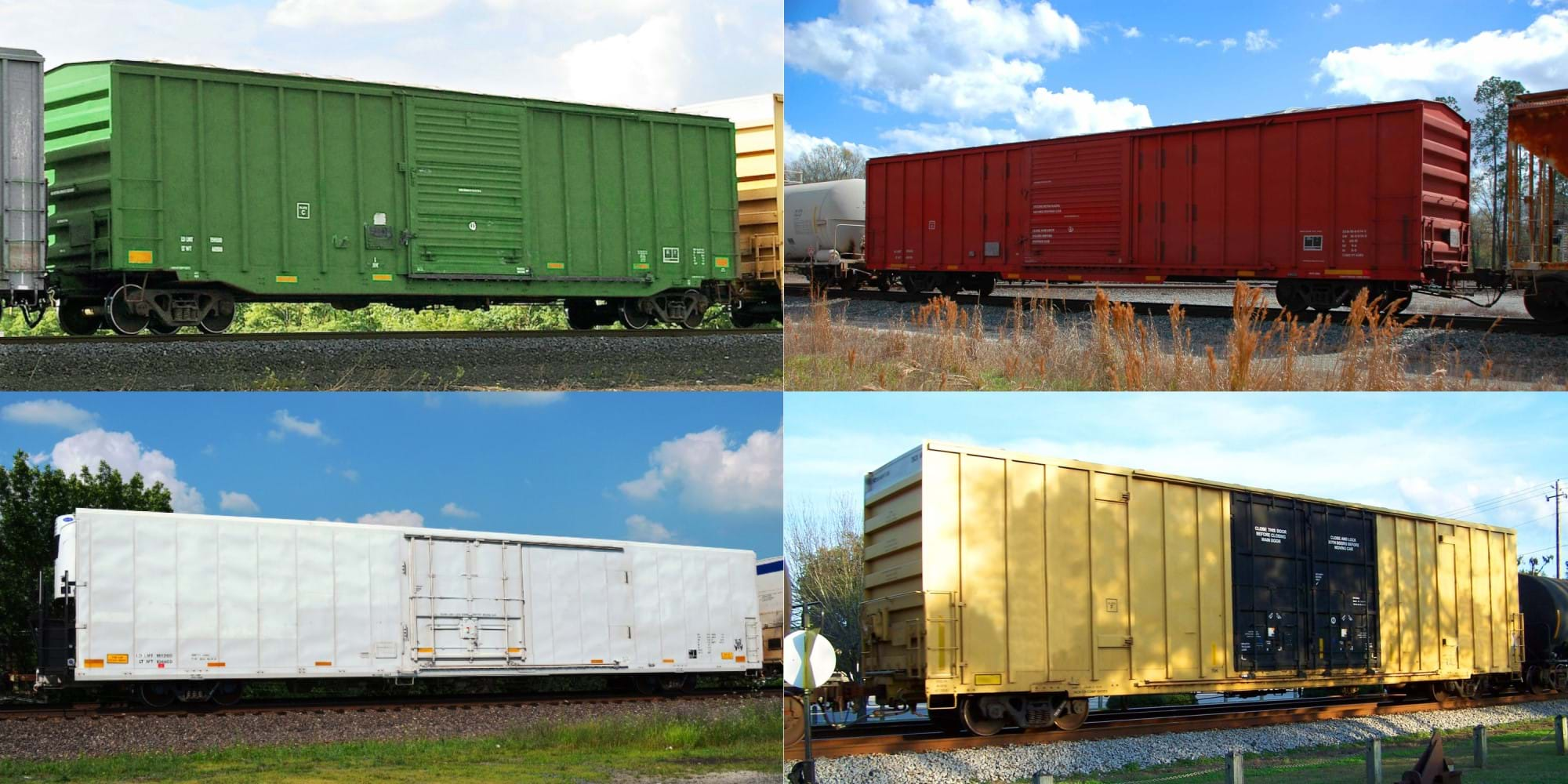 A 4-section photo of railcar boxcars that consists of 50 feet standard boxcar, 60 feet standard boxcar, refrigerated boxcar, and 60 feet hi-cube boxcar
