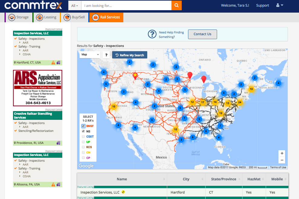 Commtrex Exchange Mapped Directory Listing Of Rail Safety Providers